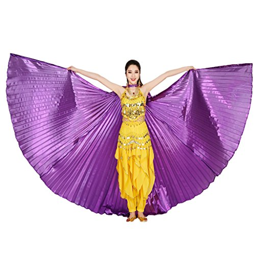 MUNAFIE Belly Dance Isis Wings with Sticks for Adult Belly Dance Costume Angel Wings for Halloween Carnival Performance Purple]()