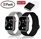 (2 Pack) R&B Watch Band 38mm 40mm Stainless Steel Loop Mesh Strap Compatible for iWatch Series 4 3 2 1 Bands 38mm 40mm Silver & Black (New Version) - 2xScreen Protector As Gift