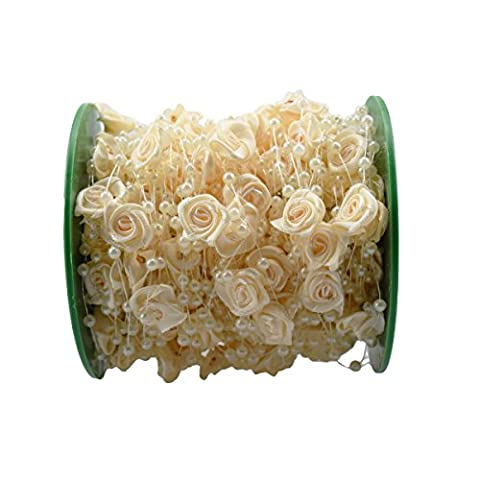 BoJia 30m /99ft Pearls String Roll Beads Garland by the roll,Rose Flower Crystal beads -Wedding Party Decor DIY - Rose Bouquet Wedding Invitations