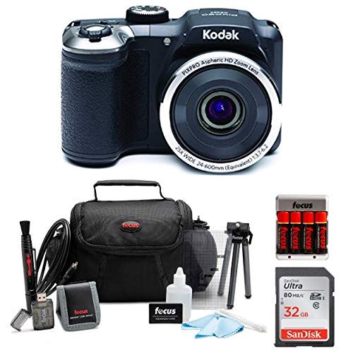 KODAK PIXPRO AZ252 Astro Zoom Digital Camera (Black) with 32GB Card, Case, Accessory kit, and Rechargeable Batteries