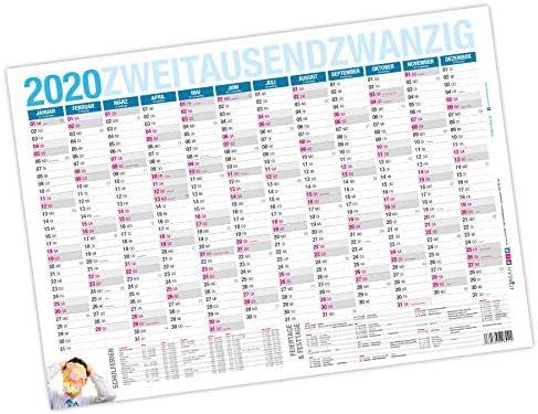 itenga Jahresplaner 2020 Tafelkalender Wandkalender DIN A4 stabile Ausführung