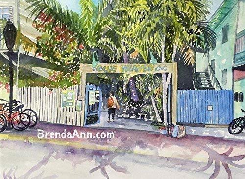 Blue Heaven Key West - Fine Art Wall Art Artwork Watercolor Art Print by Brenda Ann (Heaven West Blue Key)