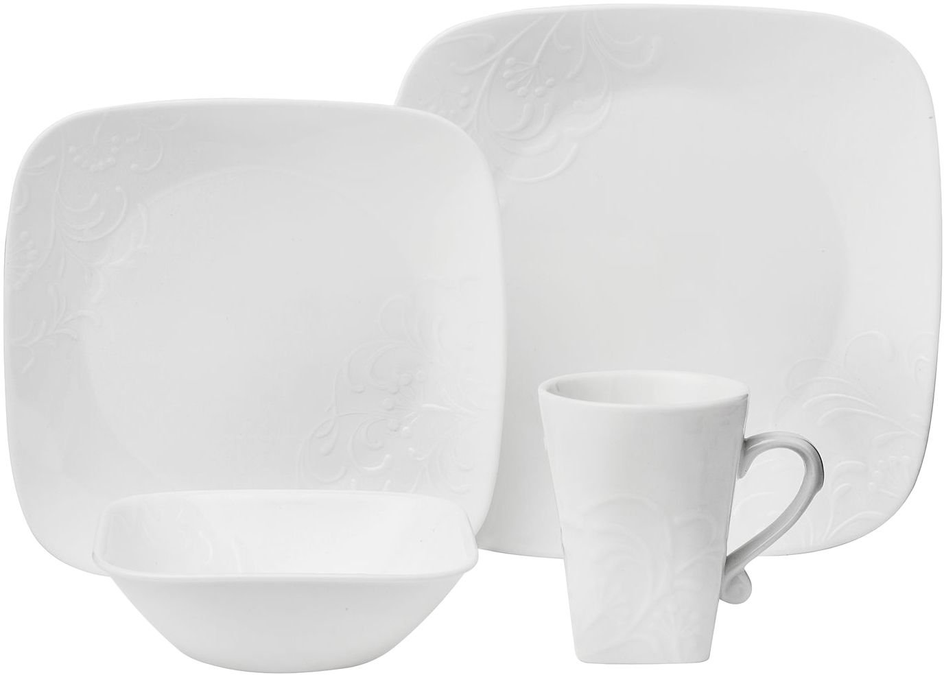 Amazon.com | CORELLE Boutique Cherish Embossed Square 16-pc Set: Dinnerware  Sets: Dinnerware Sets