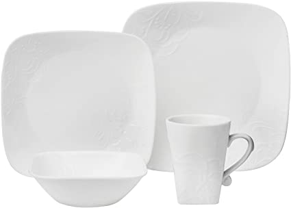 CORELLE Boutique Cherish Embossed Square 16-pc Set  sc 1 st  Amazon.com & Amazon.com | CORELLE Boutique Cherish Embossed Square 16-pc Set ...