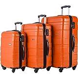 Merax MT Imagine 3 Piece Luggage Set Spinner Suitcase 20 24 28inch (Orange)