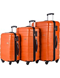 Merax Afuture 3 Piece Hardshell Spinner Luggage Set (Orange)