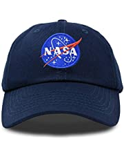 DALIX NASA Hat Pigment Dyed Baseball Cap Premium Insignia (Black and Navy Blue)