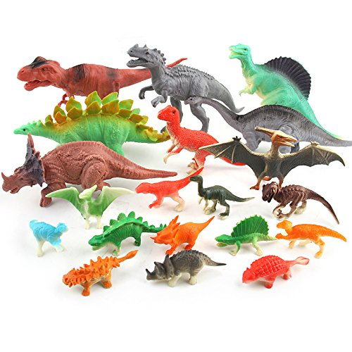 Dinosaurs Toys for Kids - Realistic Looking Dinosaur Figures 3'' to 7'' Pack 20 Playset Plastic Assorted Educational Dinosaur Toys for Boys Girls Toddlers, 3 Years and Up Fun Gift Party Giveaway by KRATO