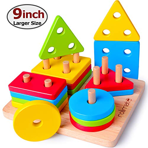 Toddler Toys for 1 2 3 4 Year Old Boys Girls Wooden Educational Toys Shape Color Geometric Board Block Sorting & Stacking Parent-Child Interaction Preschool Toys First Birthday Gifts for Girls