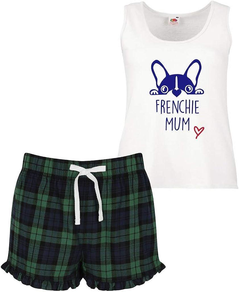 Frenchie Love Pigiama Donna Tartan Volant Corto Pigiama Set Rosso Blu O Verde Blu