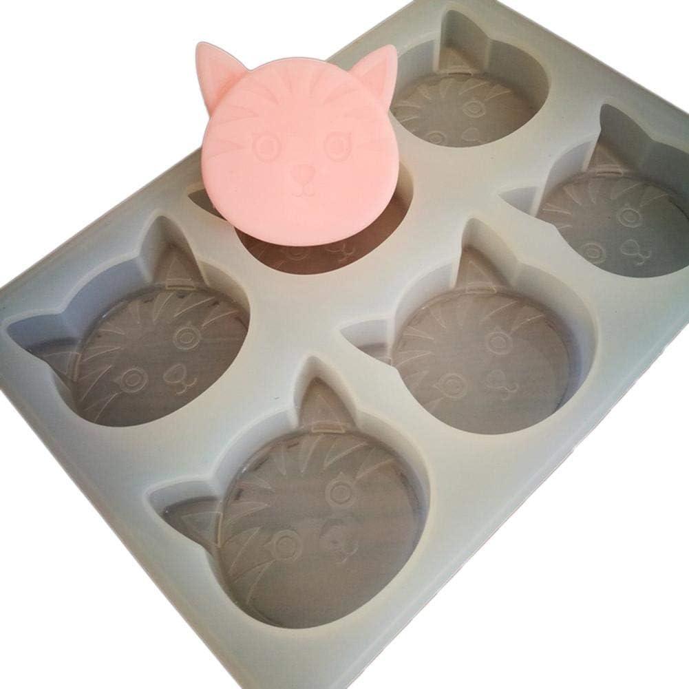 zuf/ällige Farbe 6-F/ächer-Katze geformt Seifenherstellung Form Kuchen Dekoration Silikonform Schokoladenform Pl/ätzchenform S/ü/ßigkeitenform DIY Backform Kitabetty Silikon Seifenform