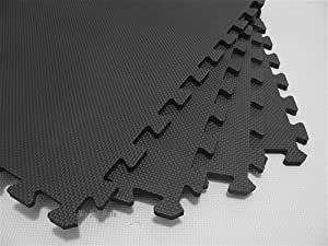 "48 Square Feet (12 tiles + borders) 'We Sell Mats' Charcoal Gray 2' x 2' x 3/8"" Anti-Fatigue Interlocking EVA Foam Exercise Gym Flooring"
