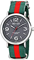 SO & CO New York Men's 5002.4 SoHo Quartz Grey Luminous Dial Green and Red Strap Watch