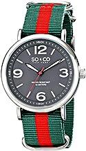 SO & CO New York Men's 5002.4 SoHo Quartz Grey Luminous Dial Green and Red Strap Watch