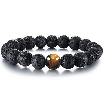 Solid Stainless Steel Wolf Bracelet Power and Focus Beads ~ Volcanic Lava Tiger/'s Eye Gemstone  Hematite Beautiful Unique Men Women