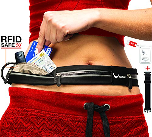 ([Voted #1 Running Belt] 3 Pocket Travel Fanny Pack w/RFID Blocking Pouch - fits All iPhone & Samsung Phones - No Bounce, Waterproof, Dog, Fitness & Money Belt! Sleekest, Most Functional in The World!)