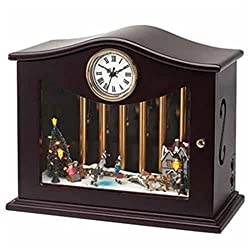 Mr. Christmas Animated Musical Chimes Ice Skater Table Top Clock
