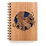 Octopus Laser Cut Wood Journal (Notebook / Birthday Gift / Gratitude Journal / Handmade)