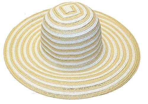 Ladies Striped Straw Garden Sun Hat, 43F6
