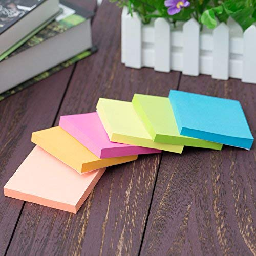 Upgraded Self-Sticky Notes - 3 x 3 Inches, 6 Bright Colors Sticky Notes, Suitable for Glass, Screen, or Any Flat Dray Solid Surface, 12 Pads
