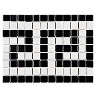 SomerTile Retro Greek Key Porcelain Mosaic