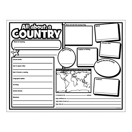 Fun Express Color Your Own All About A Country Poster (30 Pack) Crafts for Kids