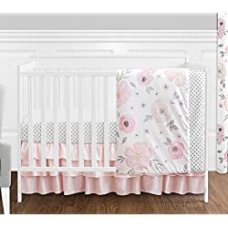 4 pc. Blush Pink, Grey and White Watercolor Floral Baby Girl Crib Bedding Set Without Bumper by Sweet JoJo Designs - Rose Flower Polka Dot