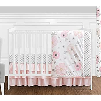 Image of 4 pc. Blush Pink, Grey and White Watercolor Floral Baby Girl Crib Bedding Set without Bumper by Sweet Jojo Designs - Rose Flower Polka Dot Baby