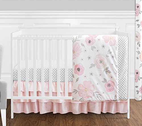 (4 pc. Blush Pink, Grey and White Watercolor Floral Baby Girl Crib Bedding Set without Bumper by Sweet Jojo Designs - Rose Flower Polka Dot)