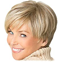 2017 Inclined Bang Fashion Bob Wig Light Blonde Golden Short Straight Synthetic Hair Breathable Full Wigs for Elegant Women Lady Girl Looks Natural as Real