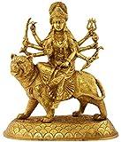 Kapasi Handicrafts Brass Goddess Ambaji / Durga Mata Idol Statues (26.67 x 13.97 x 30.48 cm, Golden)