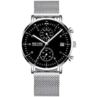 New Arrival Mens Watches Stainless Steel Slim Mesh Strap with Chronographs Calendar Luminous Watch Waterproof Analog Quartz Watch for Men