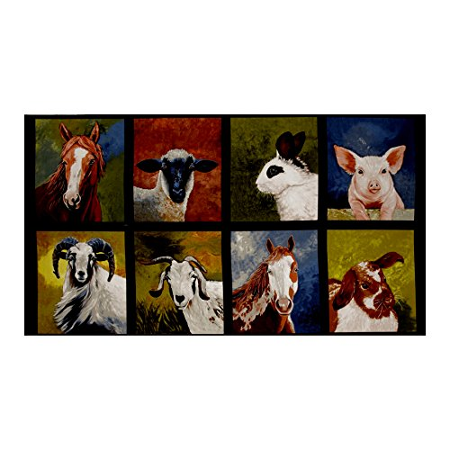 Robert Kaufman Kaufman 23.5in Panel Farm Animals Nature Fabric