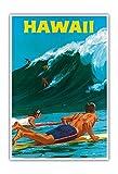 Pacifica Island Art Hawaii - Big Wave Surfing - Vintage Hawaiian Travel Poster by Chas Allen c.1950s - Hawaiian Master Art Print - 13 x 19in