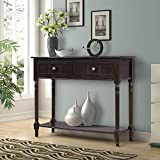 Mission Style Side Table Plans Harper&Bright Designs WF039593PAA Console Table Sideboard Traditional Two Drawers and Bottom Shelf Acacia Mangium