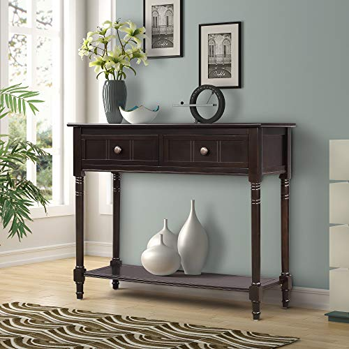 Harper&Bright Designs WF039593PAA Console Table Sideboard Traditional Two Drawers and Bottom Shelf Acacia Mangium ()