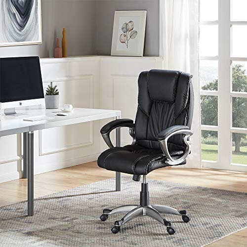 Belleze High Back Executive PU Leather Office Chair, Black ()