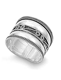 Noureda Sterling Silver Bali Spiral and Rope Edge Design Wide Band Ring, Face Height of 17MM