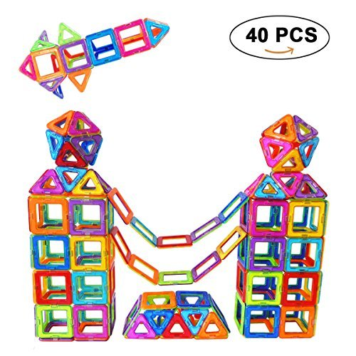 Magnetic Building Blocks Set, SUPRBIRD 40 PCS Magnetic Tiles Building Stack Educational Toys Kids Magnet Construction Toys for Girls Boys - Movies 3d Summer