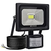 MEIKEE Security Lights with Motion Sensor, 10w Waterproof IP66 Led Sensor Outdoor Light, High Output 1000lumen Super Bright LED PIR Floodlight, 60w Halogen Lights Equivalent Replacement, Ideal for Garden, Car park, Hotel and Forecourt