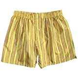 Gold Stripes Silk Boxers by Royal Silk - Size M - 33''-34'' - 100% Madras Silk