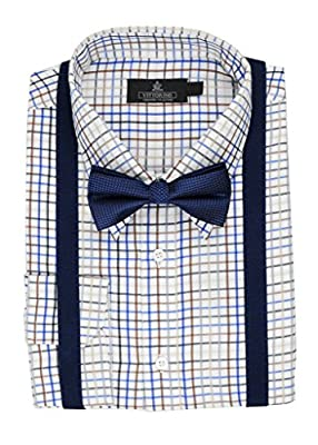 Vittorino Men's Dress Shirt and Bow Tie Suspenders Set