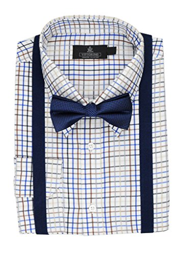 Vittorino Mens Dress Shirt With Matching Bowtie and Suspenders Set,Navy,Medium / 15-15.5 Neck, 33/34 Sleeve