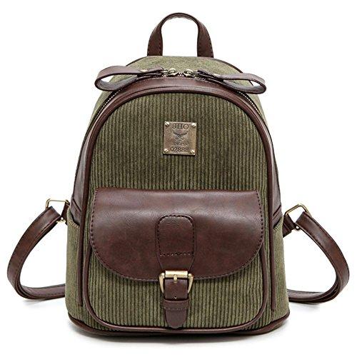 (JVP 1018-C) Material de acolchado europeo Azul marino 3way mochila bandolera populares bolso de recuperación de la escuela del viajero ocasional moda de la escuela de estilo casual Verde