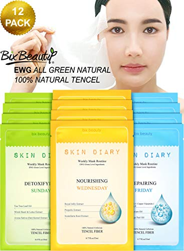 Skin Diary Korean Natural Essence Tea Tree | Propolis | Royal Jelly | Peptides Infused Collagen Sheet Face Mask Trio Set | Total Skin Care System | 12 Pack Weekly ()