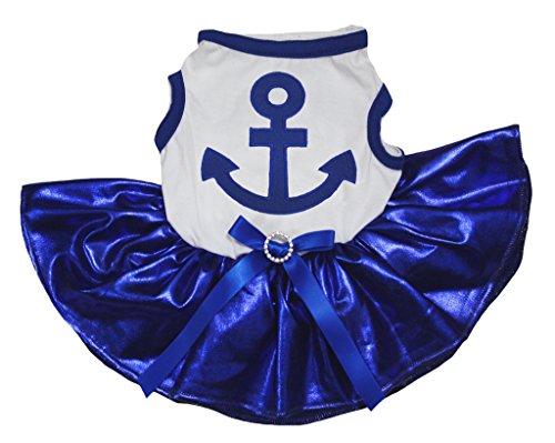 White Sailor Dog Shirt - Petitebella Sailor Anchor White Shirt Bling Royal Blue Tutu Puppy Dog Dress (Medium)
