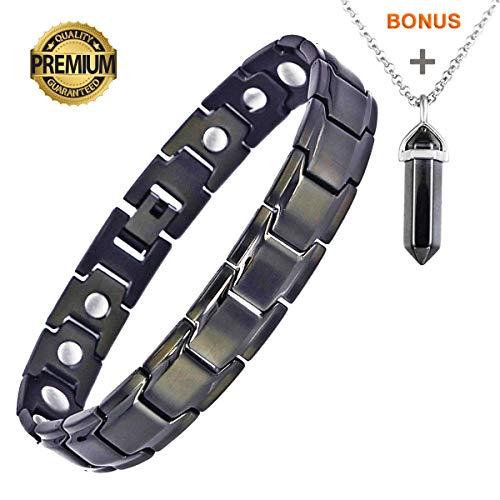 Deluxy Titanium Magnetic Bracelet Therapy High Power Magnets for Men Women Balance Arthritis Relief Pain Carpal Tunnel+ Hematite Pendant Necklace ()