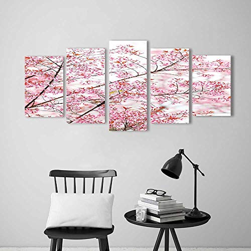 Wall Art for Living Room Decor 5 Piece Set Frameless Prints Decor Collection Japanese Sakura Cherry Trees Blossom Spring Garden Park Accessories for Home Modern Decoration Print Decor ()