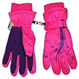 N'Ice Caps Girls Thinsulate and Waterproof Ski Gloves with Flower Tattoo Print (8-10yrs, Neon Pink/Purple)