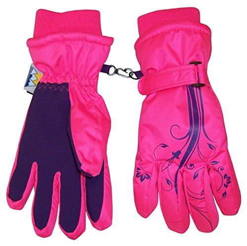 Mitt Flower (N'Ice Caps Girls Thinsulate and Waterproof Ski Gloves with Flower Tattoo Print (10-12yrs, Neon Pink/Purple))